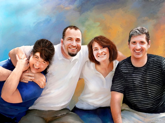 Digital portrait painting - family portrait